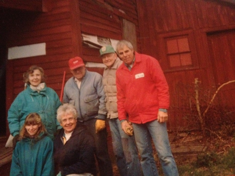 This year marks the 20th anniversary of the Benton House's restoration. This is the beginning of the journey. Pictured below are the homestead at it's previous location on the Hubert James' Farm and some of the folks that made the magic happen ( Eve Johnson, Lyn Howard, David Perry, Jr. Withey, Karen Flamand, and Sue Jacobson). Photo courtesy of the Kaneville Township Historical Society.