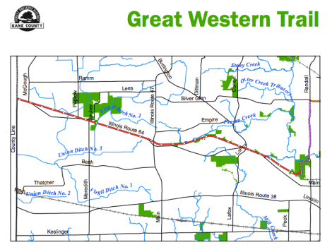 This map shows the full length of the Great Western Trail. The route of the bike ride will be about 10 miles, round trip.